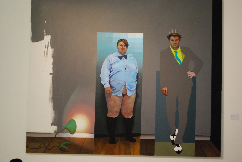 Hans Scheierl, Jakob + ich mit Krähenfußlampe auf monochromem Bild (2012)