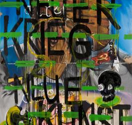 Jörg Immendorff & Felix Droese Neuer Krieg Neue Kunst, 1974 Mischtechnik auf vier Leinwänden, je 99 x 99 cm Museum der Moderne Salzburg – Leihgabe der Sammlung MAP © Bildrecht, Wien, 2013