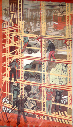 Hermine Aichenegg, Home-building I, 1953, Sketch for a sgraffito on a housing complex at Lenneisgasse 4–8, 14th district, Gouache, Purchased 2009, Collection Wien Museum