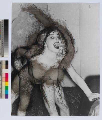 """Arnulf Rainer/ Rainer und die Frauen/ """"Spitzer Schrei"""" (1977);  Minenstift Ölkreide Tusche auf Foto"""