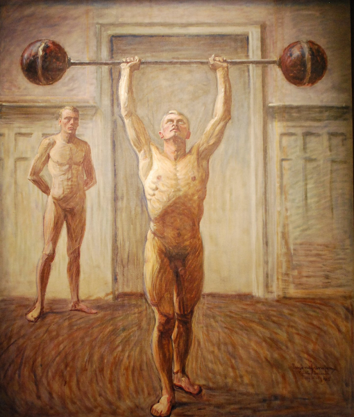 eugene-jansson_pushing-weights-with-two-artms-number-2_1913